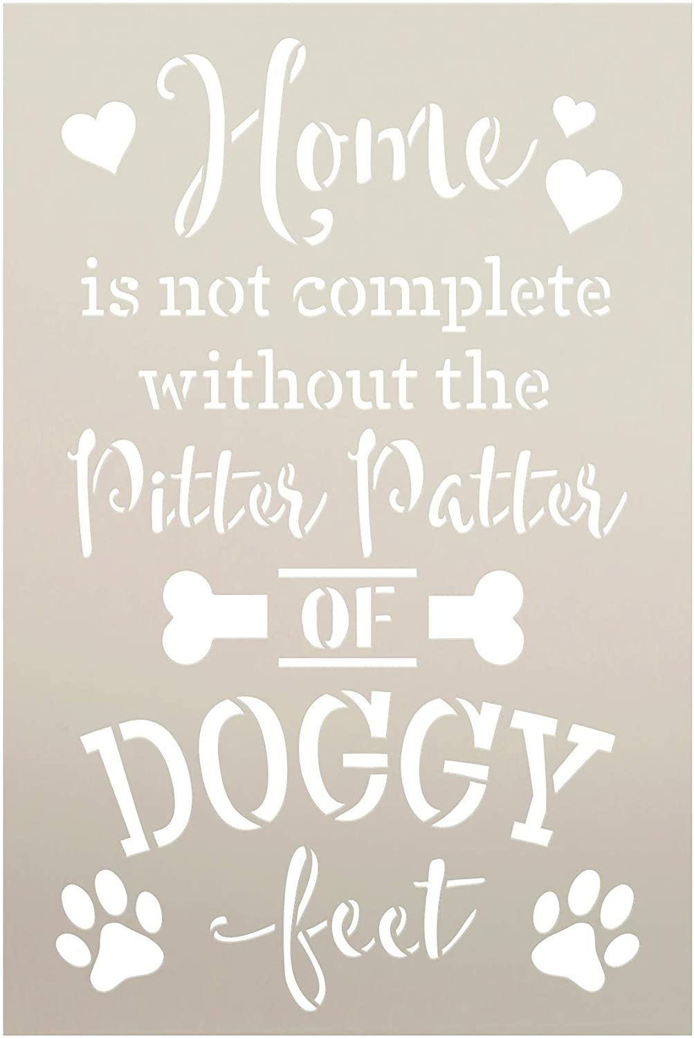 Home - Doggy Feet Stencil by StudioR12 | DIY Puppy Lover Home Decor | Craft & Paint Wood Sign | Reusable Mylar Template | Dog Bone Family Pet Pawprint Heart Gift | Select Size