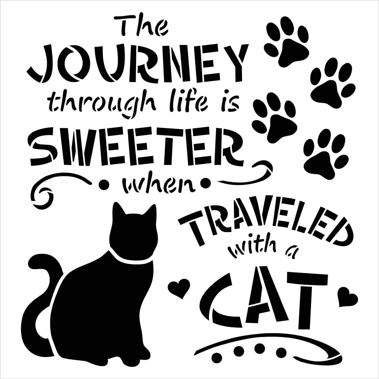 Journey Sweeter Traveled with Cat Stencil by StudioR12 | DIY Kitten Lover Home Decor | Craft & Paint Wood Sign | Reusable Mylar Template | Pawprint Heart Gift | Select Size