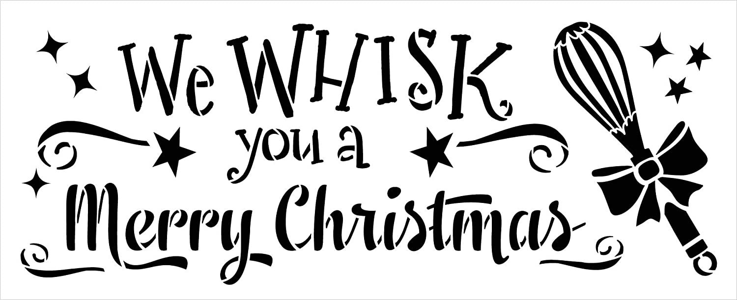 Whisk You A Merry Christmas Stencil by StudioR12   DIY Holiday Kitchen Cooking Home Decor   Craft & Paint Wood Sign Reusable Mylar Template   Starry Ribbon Bow Select Size