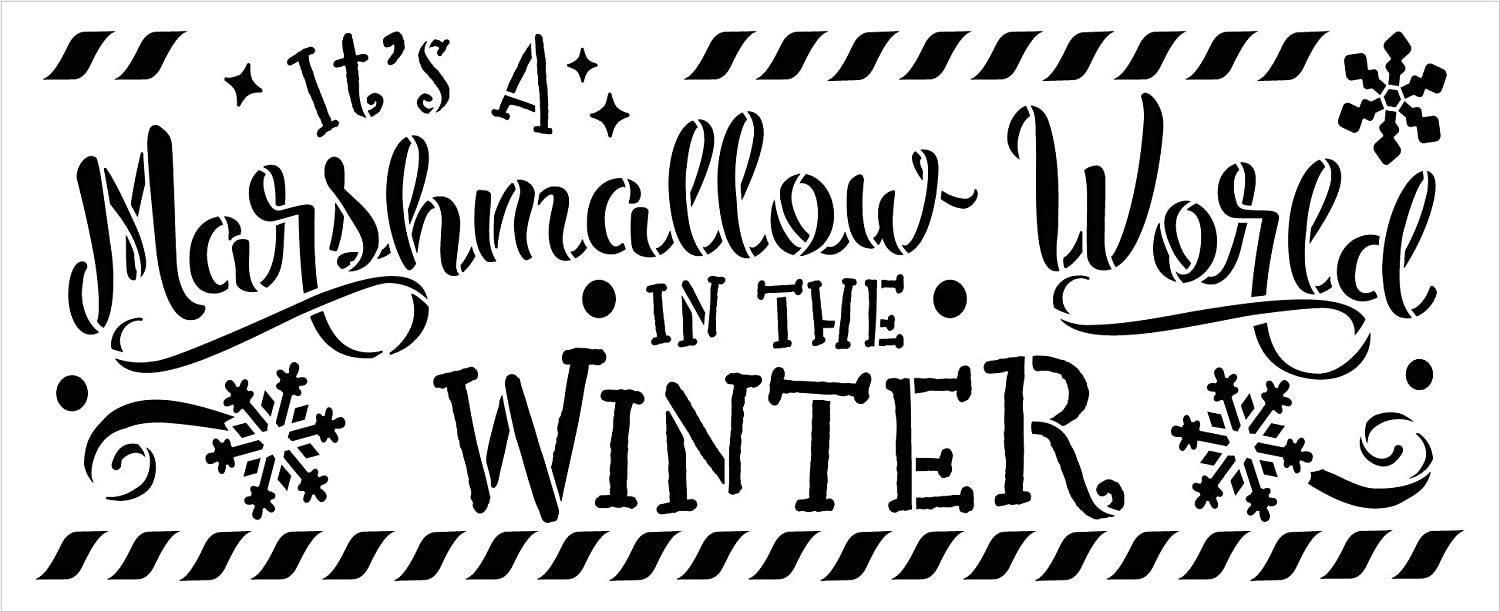 Marshmallow World Winter Stencil by StudioR12 | DIY Christmas Holiday Home Decor | Craft & Paint Wood Sign Reusable Mylar Template | Snowflake Wonderland Gift Select Size