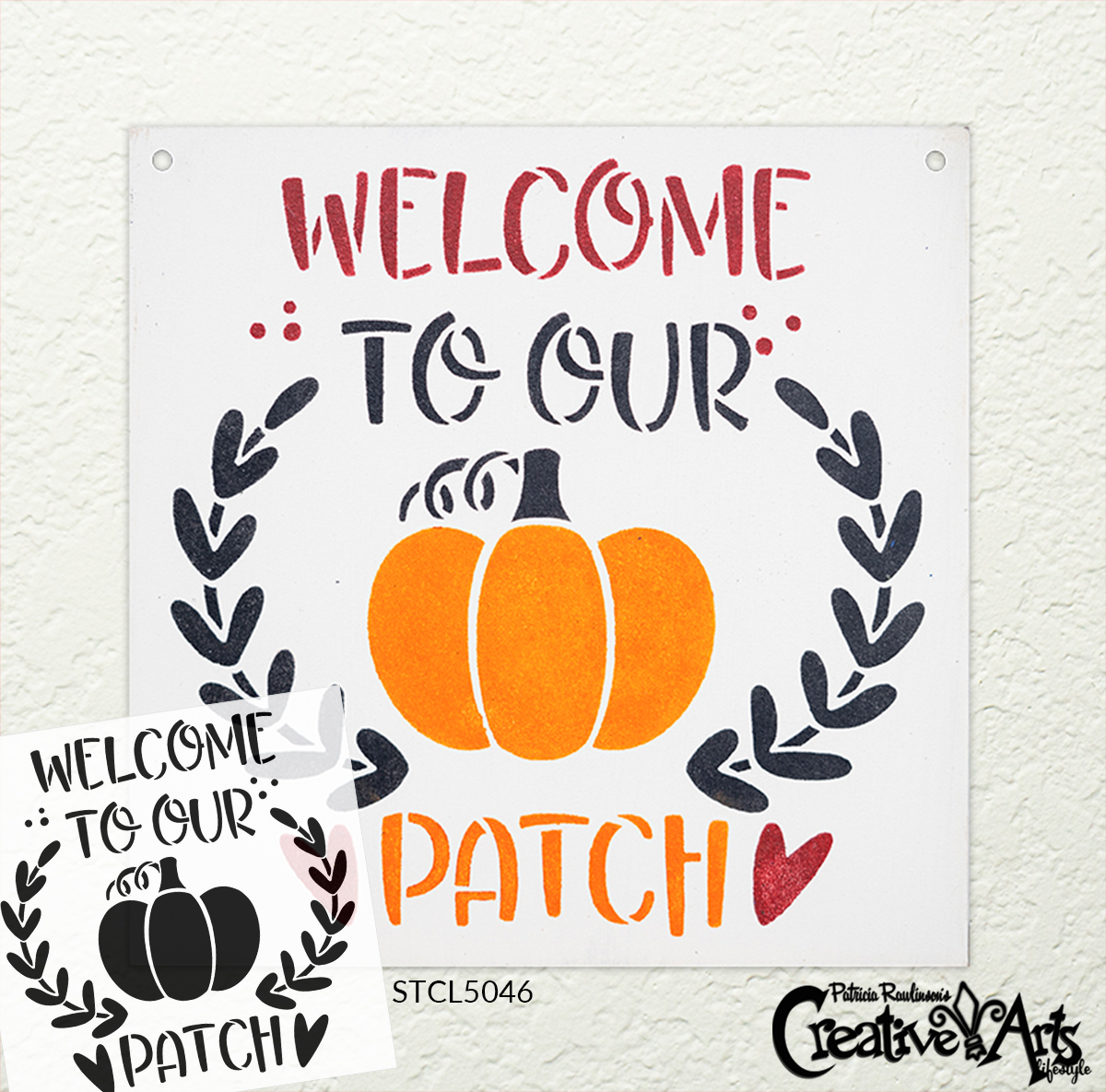 Welcome to Our Patch Stencil by StudioR12 | DIY Autumn Pumpkin Home Decor | Craft & Paint Wood Sign | Reusable Mylar Template | Fall Laurel Wreath Heart Gift | Select Size