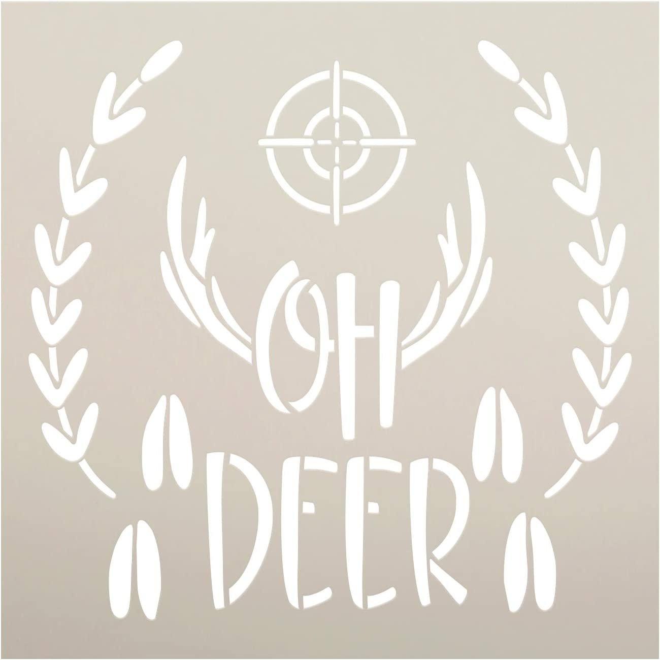 Oh Deer Stencil by StudioR12 | Scope - Antler - Tracks - Laurel | DIY Hunting Home Decor | Craft & Paint Wood Sign | Reusable Mylar Template | Select Size