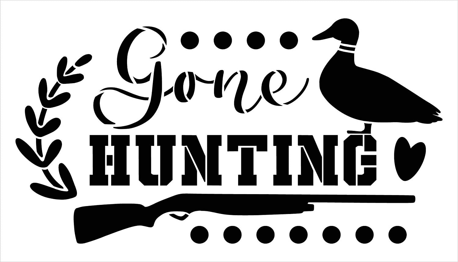Gone Hunting Stencil with Duck by StudioR12   DIY Country Cabin Home Decor   Craft & Paint Wood Sign   Mylar Template   Select Size
