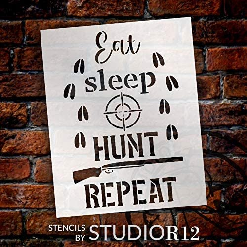 Eat Sleep Hunt Repeat Stencil with Deer Footprints by StudioR12   DIY Country Cabin Home Decor   Paint Wood Signs   Select Size