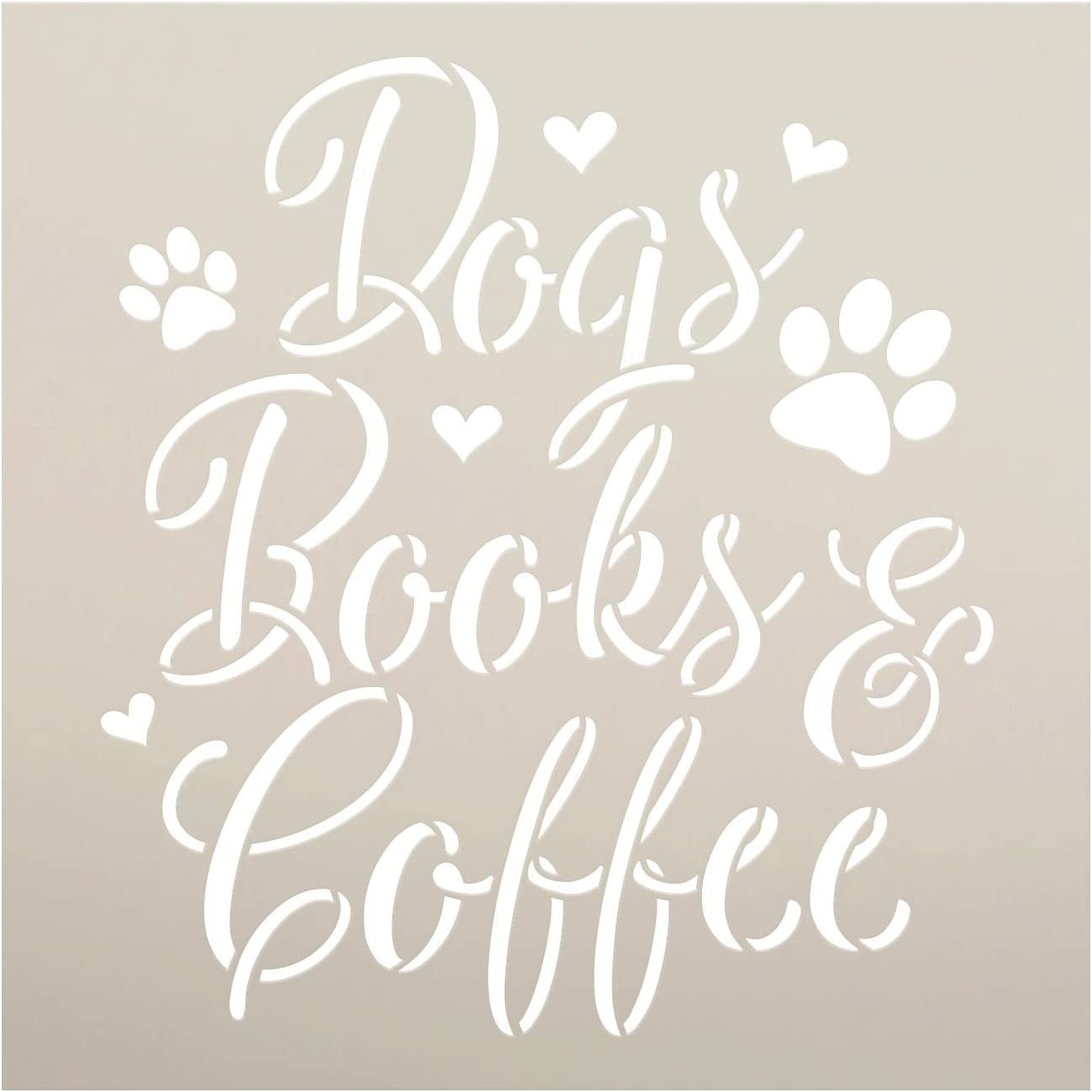 Dogs Books & Coffee Stencil by StudioR12 | DIY Animal Lover Read Home Decor Gift | Craft & Paint Wood Sign Reusable Mylar Template | Select Size