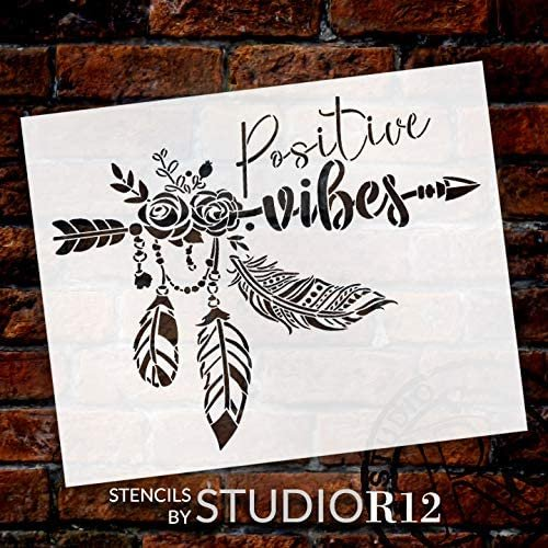 Positive Vibes Stencil by StudioR12   DIY Boho Chic Home Decor   Craft & Paint Wood Sign Reusable Mylar Template   Bohemian Rose Feather   Select Size