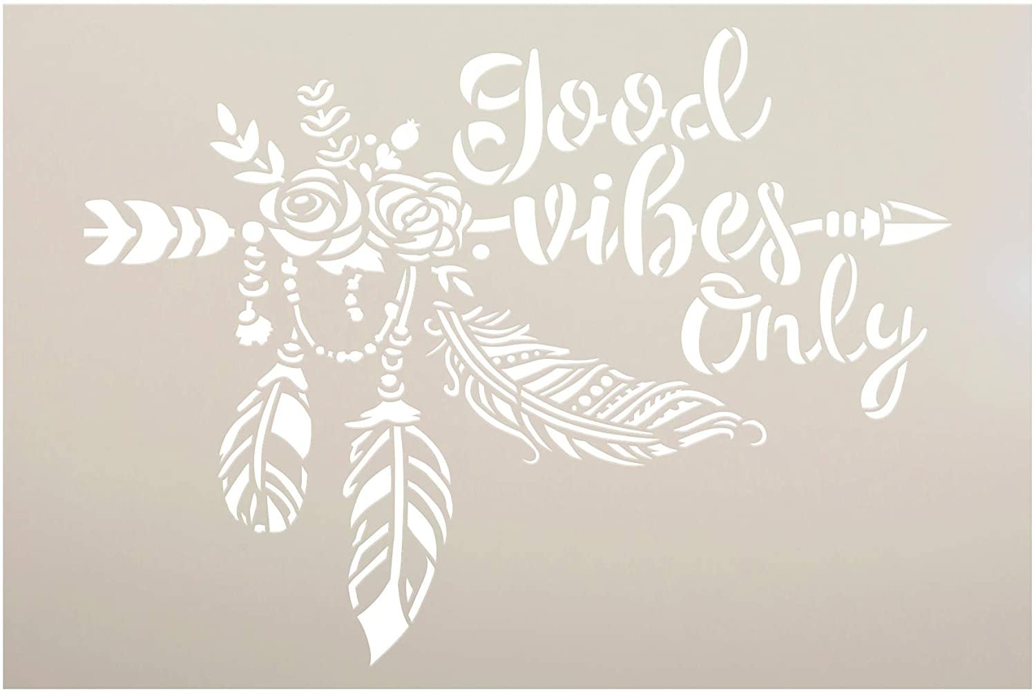 Good Vibes Only Stencil by StudioR12 | DIY Boho Arrow Rose Feather Home Decor Gift | Craft & Paint Wood Sign | Reusable Mylar Template | Select Size
