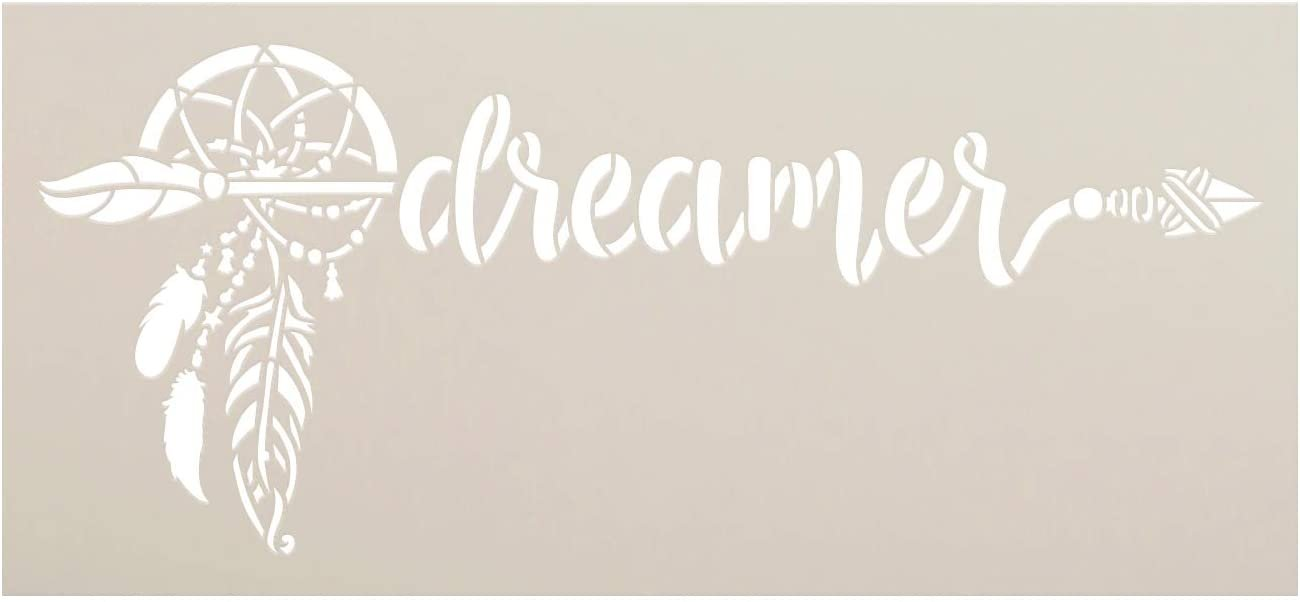 Dreamer Stencil by StudioR12   DIY Boho Bohemian Dreamcatcher Feather Home Decor Gift   Craft & Paint Wood Sign Reusable Mylar Template   Select Size