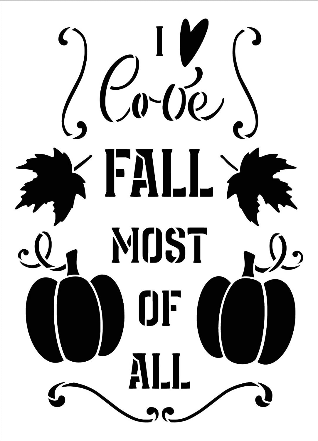 Love Fall Most of All Stencil by StudioR12 | DIY Autumn Leaves Pumpkin Home Decor Gift | Craft & Paint Wood Sign Reusable Mylar Template | Select Size