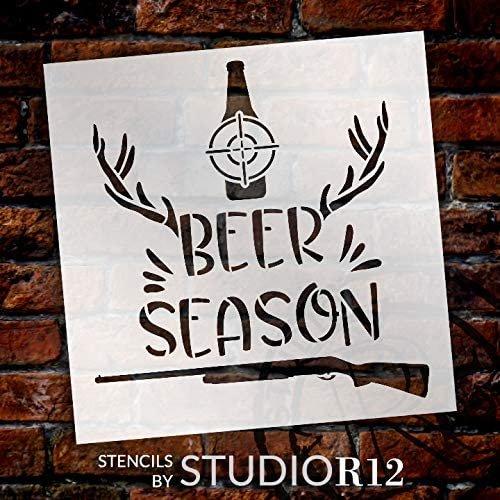 Beer Season Stencil by StudioR12   DIY Hunting Deer Antler Shotgun Home Decor Gift   Craft Paint Wood Sign Reusable Mylar Template   Select Size