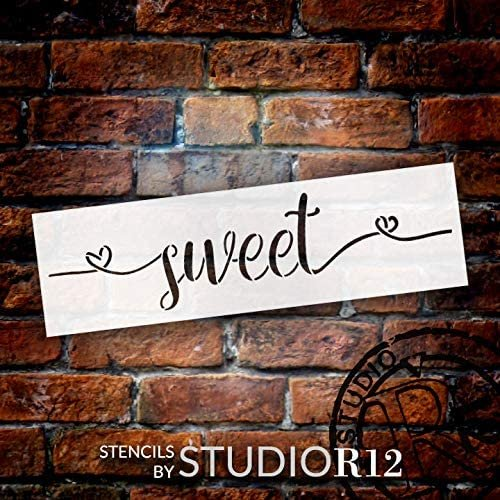 Sweet Cursive Script Word Stencil by StudioR12   DIY Inspiration Quote Home Decor Gift   Craft & Paint Wood Sign Reusable Mylar Template   Select Size