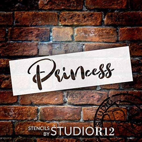 Princess Word Stencil by StudioR12   DIY Pretty Cursive Script Home Decor Gift   Craft & Paint Wood Sign   Reusable Mylar Template   Select Size