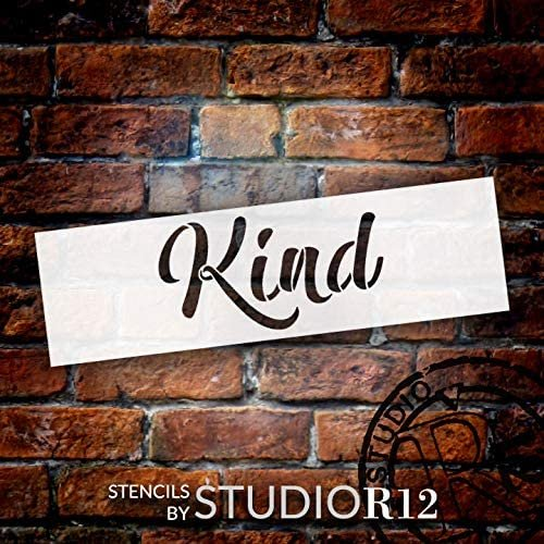 Kind Cursive Script Stencil by StudioR12   DIY Inspirational Quote Home Decor Gift   Craft & Paint Wood Sign   Reusable Mylar Template   Select Size