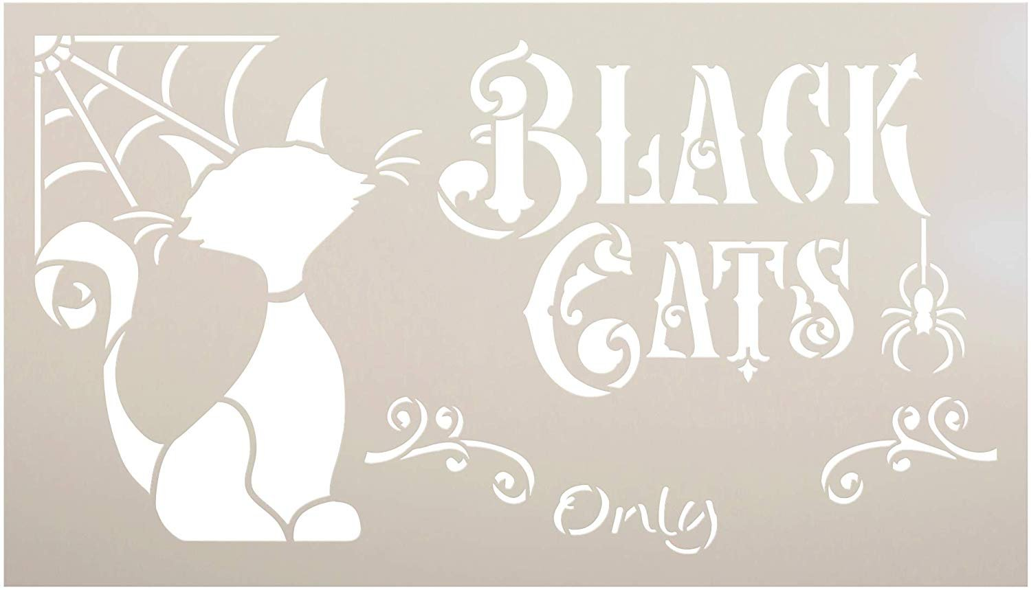 Black Cats Only Stencil with Spider Web by StudioR12 | DIY Halloween Home Decor | Paint Wood Signs | Reusable Template | Select Size (15.75 x 9 inch)