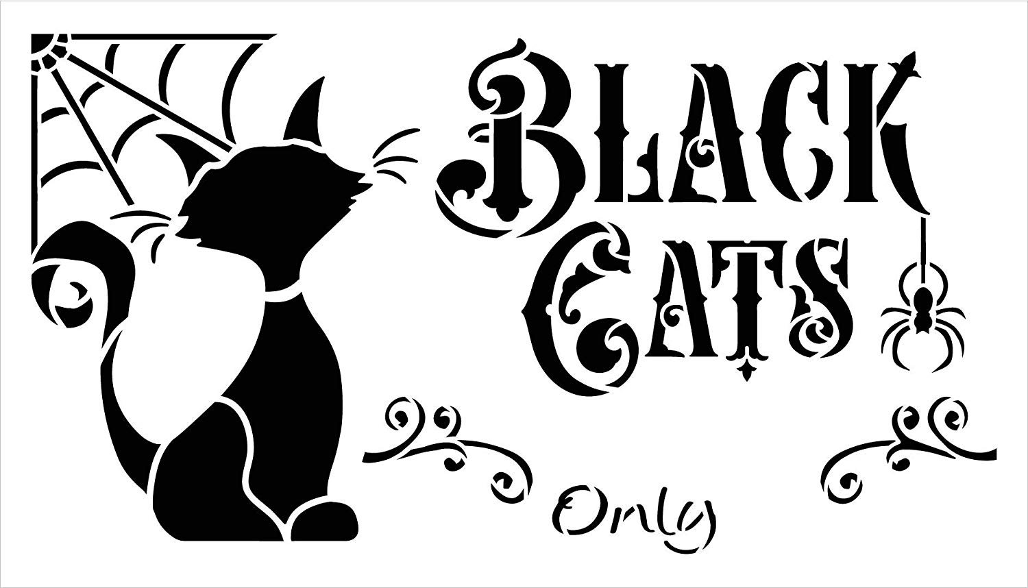 Black Cats Only Stencil with Spider Web by StudioR12   DIY Halloween Home Decor   Paint Wood Signs   Reusable Template   Select Size (26.25 x 15 inch)