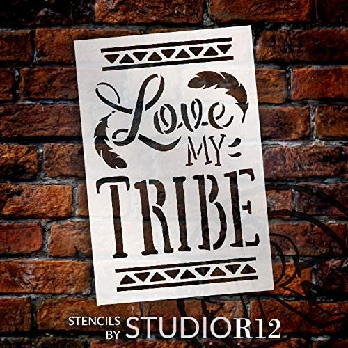 Love My Tribe Stencil by StudioR12 | DIY Boho Feather Home Decor | Craft & Paint Wood Sign Reusable Mylar Template | Bohemian Tribal Gift Select Size