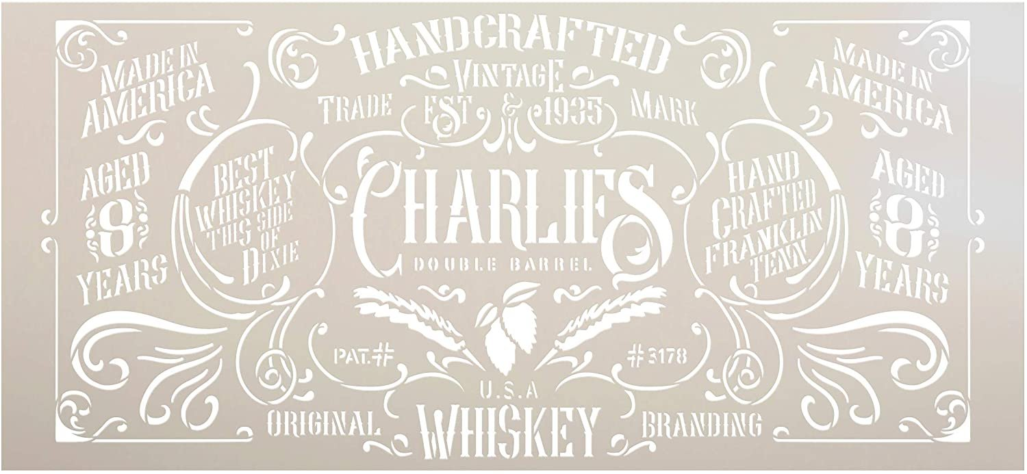 Handcrafted Vintage Whiskey Stencil by StudioR12 | DIY Victorian Liquor Home Decor Gift | Craft Paint Wood Sign Reusable Mylar Template | Select Size