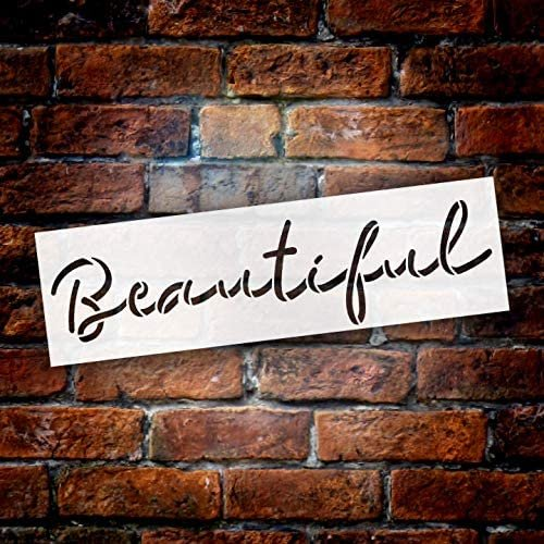 Beautiful Cursive Script Stencil by StudioR12   DIY Inspiration Quote Home Decor Gift   Craft & Paint Wood Sign Reusable Mylar Template   Select Size