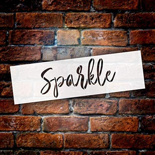 Sparkle Cursive Script Stencil by StudioR12 | DIY Inspiration Quote Home Decor Gift | Craft & Paint Wood Sign Reusable Mylar Template | Select Size