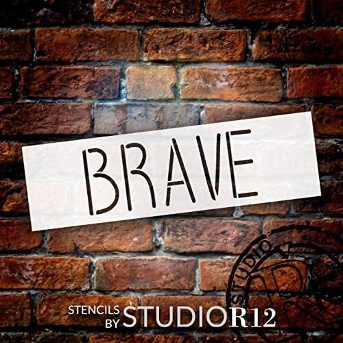 Brave Thin Font Word Stencil by StudioR12   DIY Inspirational Quote Home Decor Gift   Craft & Paint Wood Sign   Reusable Mylar Template   Select Size (20 inches x 6 inches)