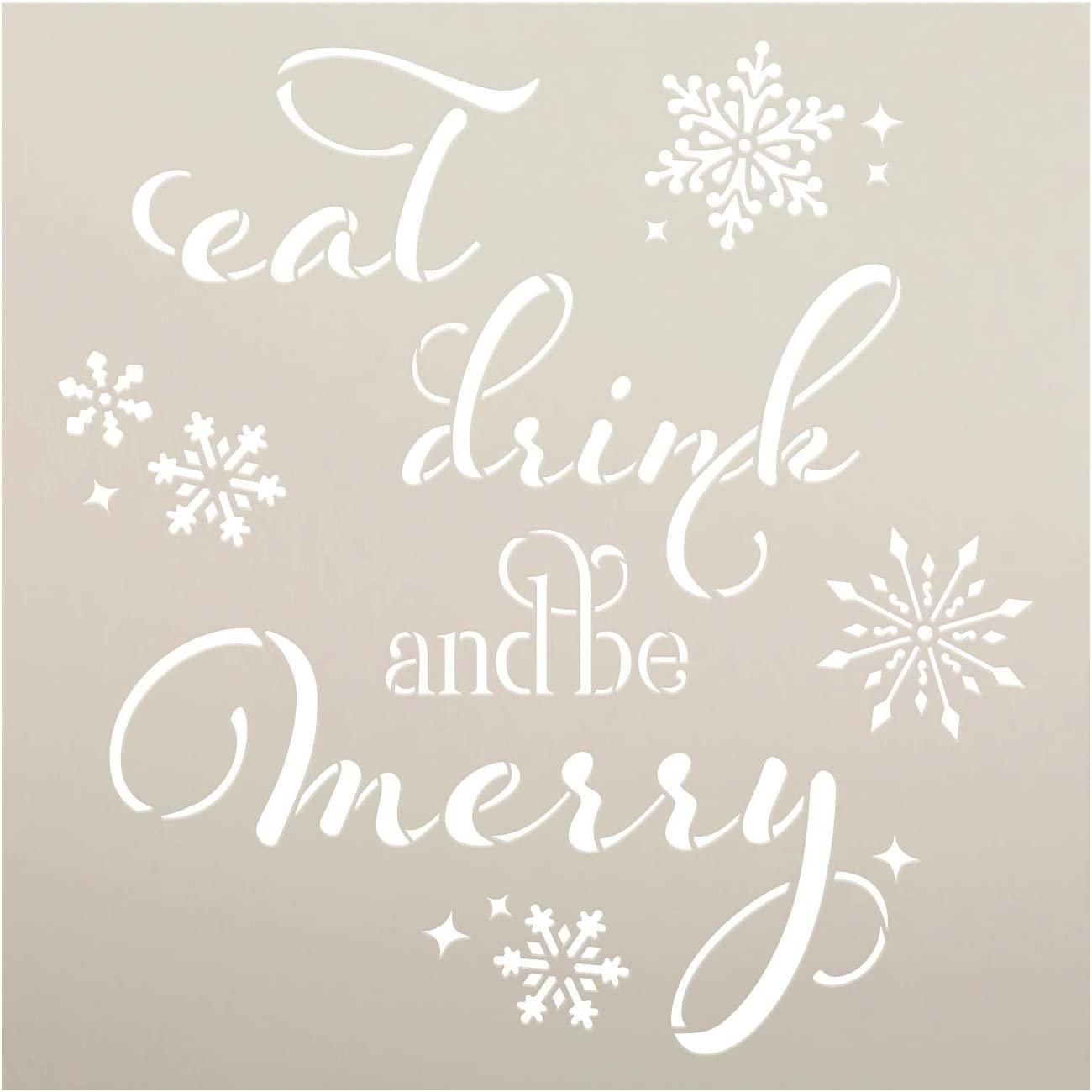 Eat Drink Be Merry Stencil by StudioR12 | DIY Christmas Holiday Home Decor Gift | Craft & Paint Wood Sign | Reusable Mylar Template | Select Size