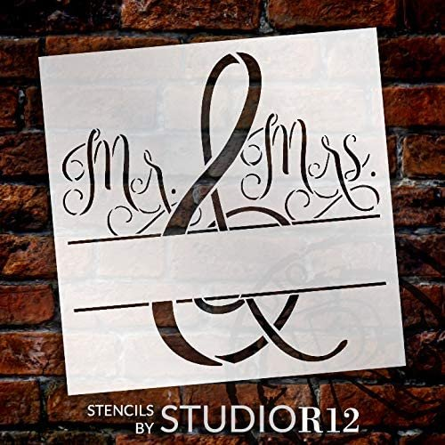 Mr & Mrs Stencil by StudioR12   DIY Wedding Home Decor Gift   Personalize Add Your Name   Craft Paint Wood Sign   Reusable Mylar Template Select Size