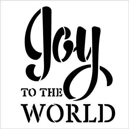 Joy to The World Stencil by StudioR12 | DIY Faith Christmas Carol Farmhouse Home Decor | Craft & Paint Wood Sign | Reusable Mylar Template Select Size