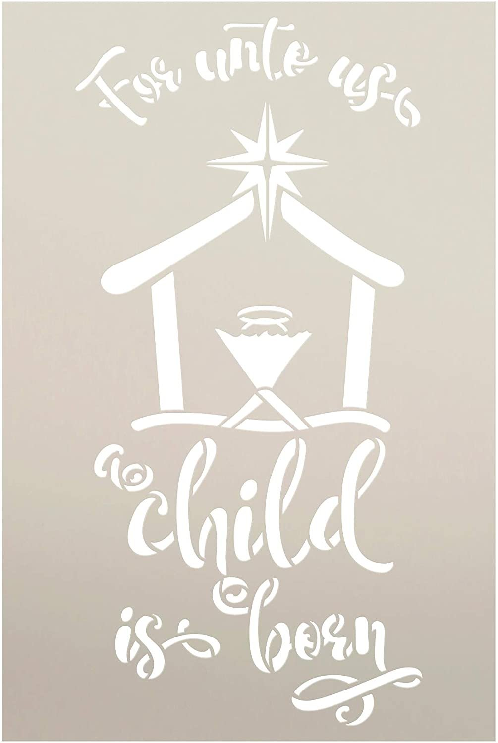 Unto Us a Child is Born Stencil by StudioR12 | DIY Christmas Faith Home Decor Gift | Craft & Paint Wood Sign | Reusable Mylar Template | Select Size