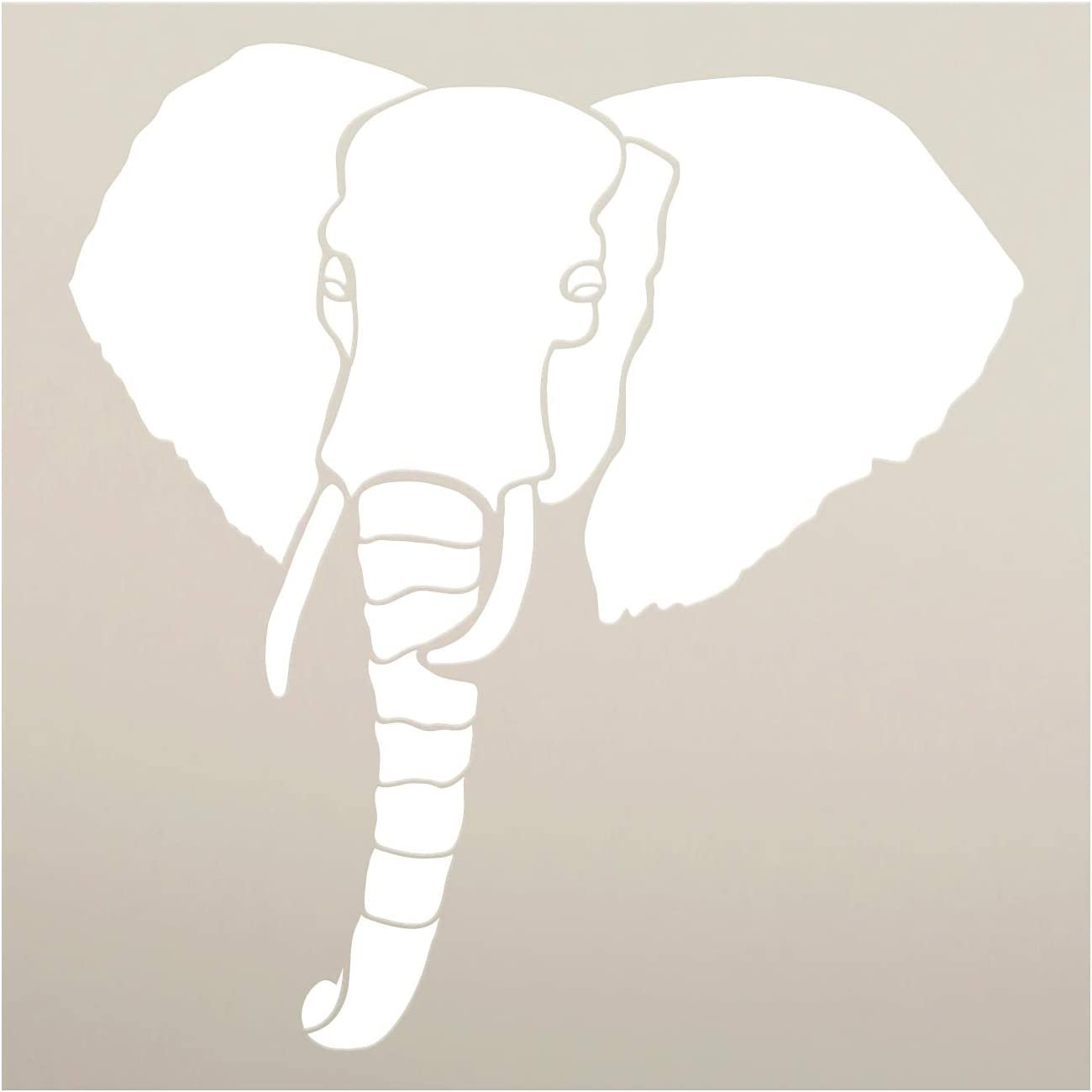 Elephant Silhouette Stencil by StudioR12 | DIY African Animal Lover Home Decor Gift | Craft & Paint Wood Sign | Reusable Mylar Template | Select Size