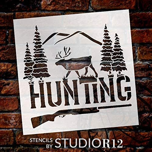Hunting Stencil by StudioR12 | DIY Deer Pine Tree Home Decor Gift | Craft & Paint Wood Sign | Reusable Mylar Template | Rustic Gun Gift | Select Size