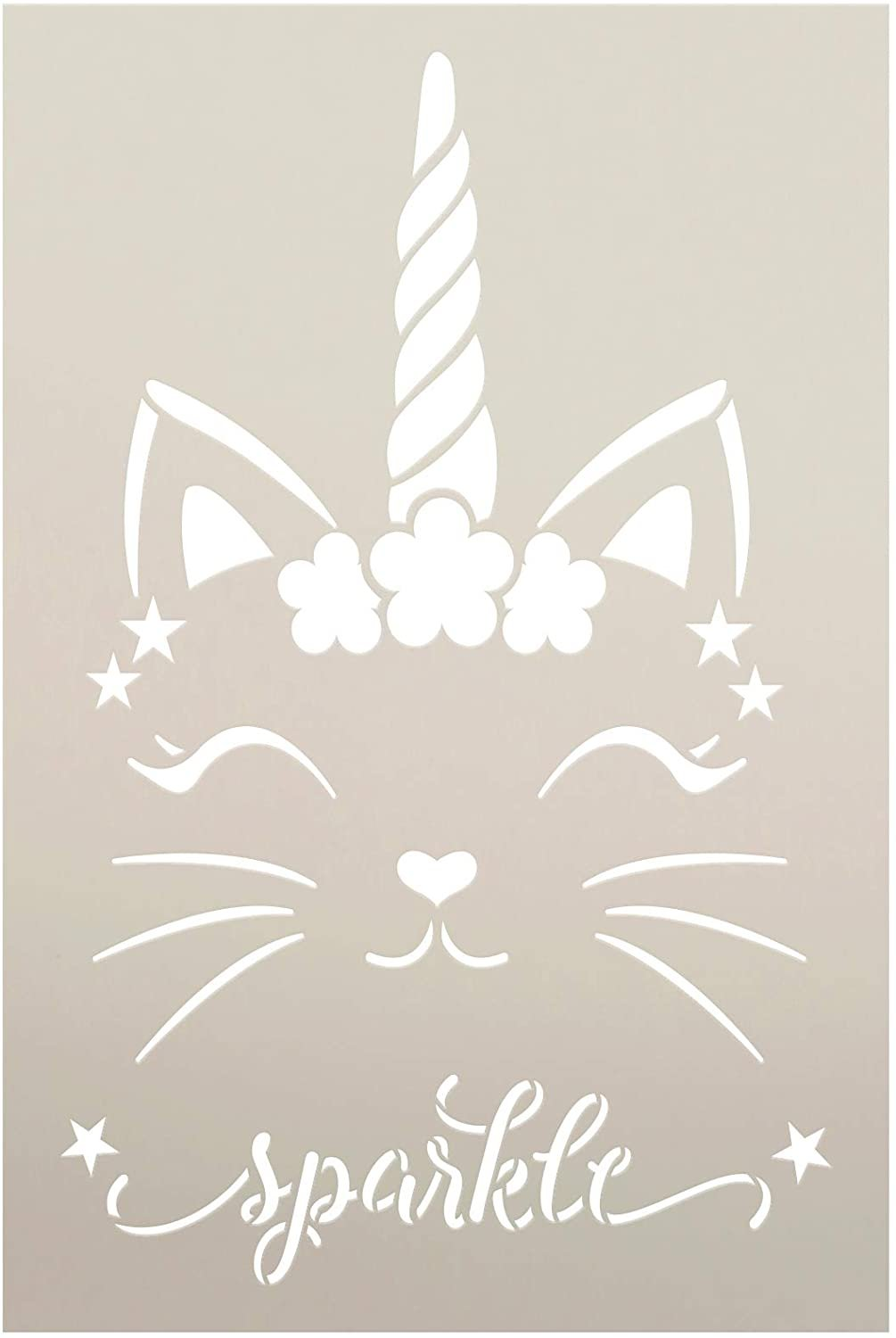 Sparkle Unicorn Kitty Stencil by StudioR12 | DIY Flower Glitter Cute Home Decor Gift | Craft & Paint Wood Sign | Reusable Mylar Template | Select Size