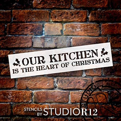 Our Kitchen Heart of Christmas Stencil by StudioR12   DIY Holiday Holly Home Decor Gift   Craft Paint Wood Sign   Reusable Mylar Template Select Size