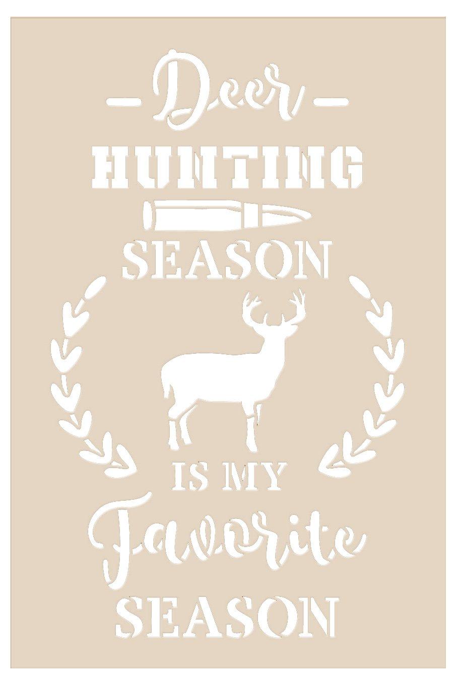 Deer Hunting Favorite Season Stencil by StudioR12 | DIY Nature Laurel Home Decor Gift | Craft & Paint Wood Sign | Reusable Mylar Template Select Size