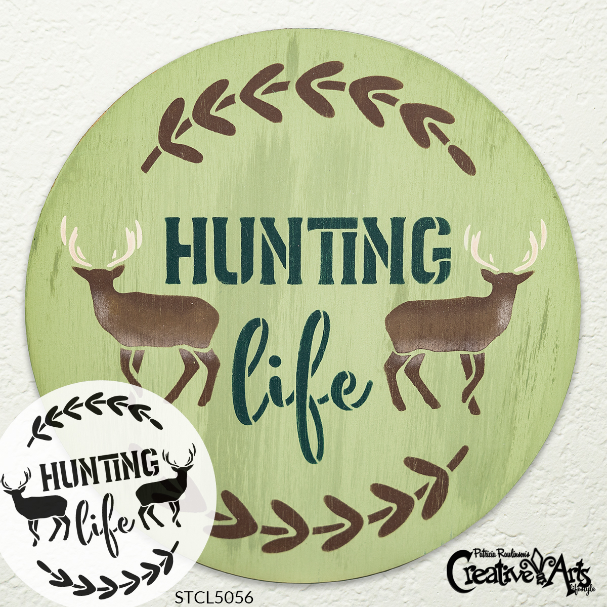 Hunting Life Stencil by StudioR12 | DIY Deer Laurel Wreath Home Decor Gift | Craft & Paint Round Wood Sign | Reusable Mylar Template | Select Size