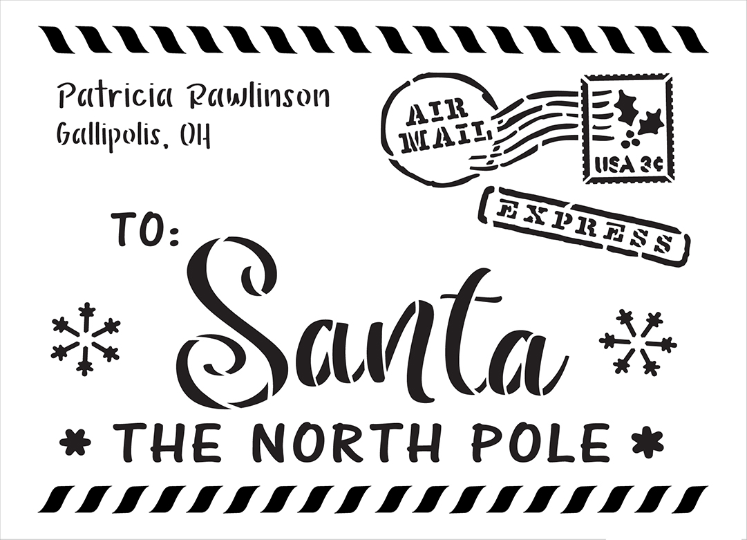 Letter to Santa Envelope Personalized 2 Part Stencil by StudioR12   DIY Christmas Family Home Decor   Paint Custom Wood Sign   Size (13.5 x 9.75 inch)