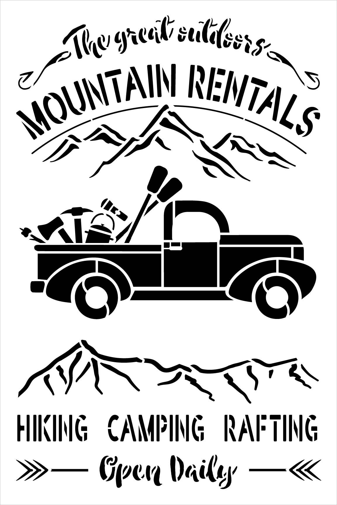 Outdoor Mountain Rentals Stencil by StudioR12   DIY Hiking & Camping Vintage Truck Home Decor   Paint Country Wood Signs   Select Size