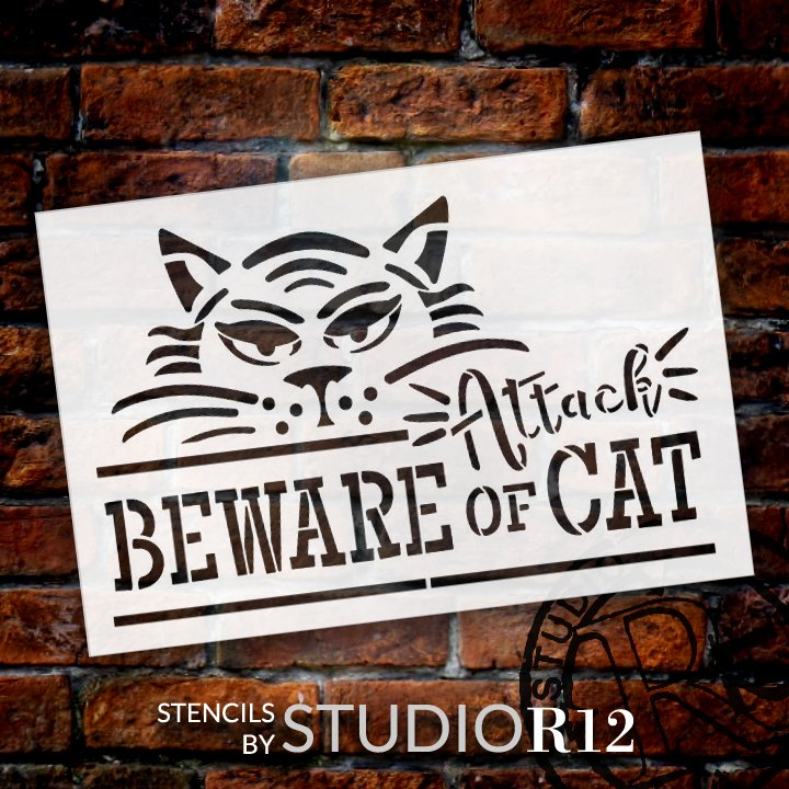 Beware of Attack Cat Stencil by StudioR12 | DIY Pet & Animal Lover Home Decor | Craft & Paint | Reusable Mylar Template | Select Size