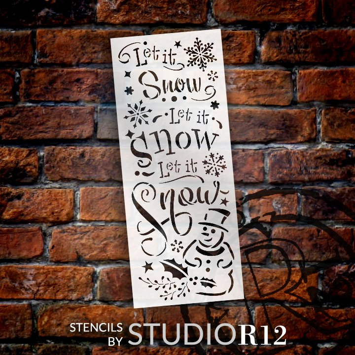Let It Snow Stencil with Snowman by StudioR12   DIY Winter Snowflake Home Decor   Craft & Paint Holiday Wood Signs   Select Size
