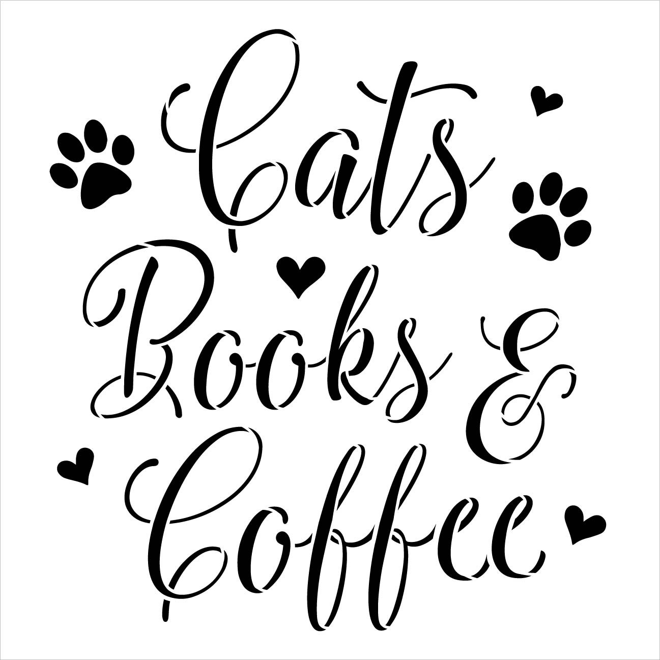 Cats Books & Coffee Stencil with Paw Prints and Hearts by StudioR12 | DIY Pet & Animal Lover Home Decor | Craft & Paint | Select Size