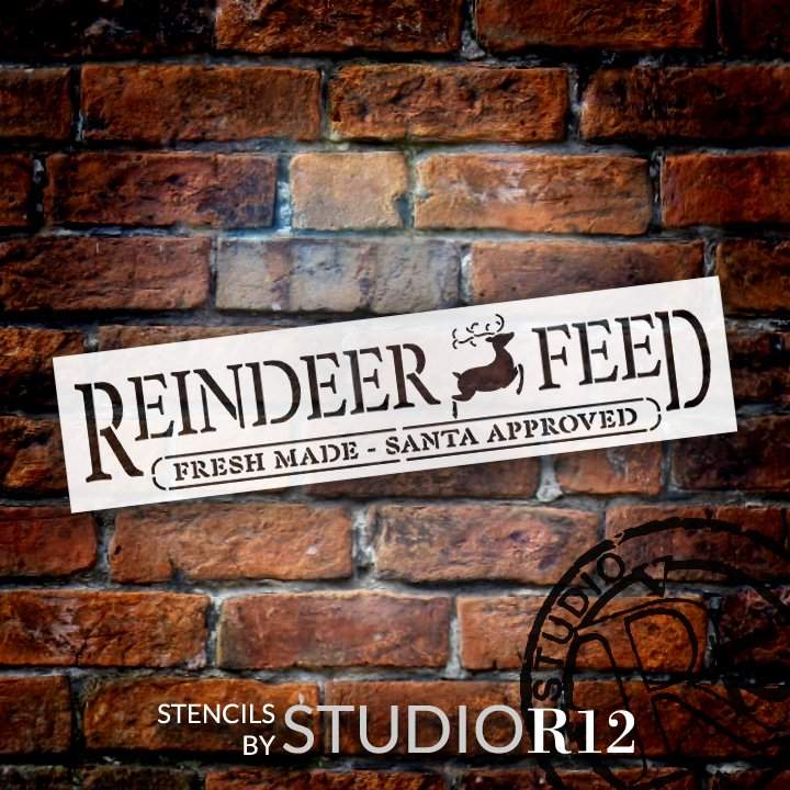 Reindeer Feed Stencil by StudioR12 | DIY Christmas Holiday Santa Home Decor Gift | Craft & Paint Wood Sign | Reusable Mylar Template | Select Size