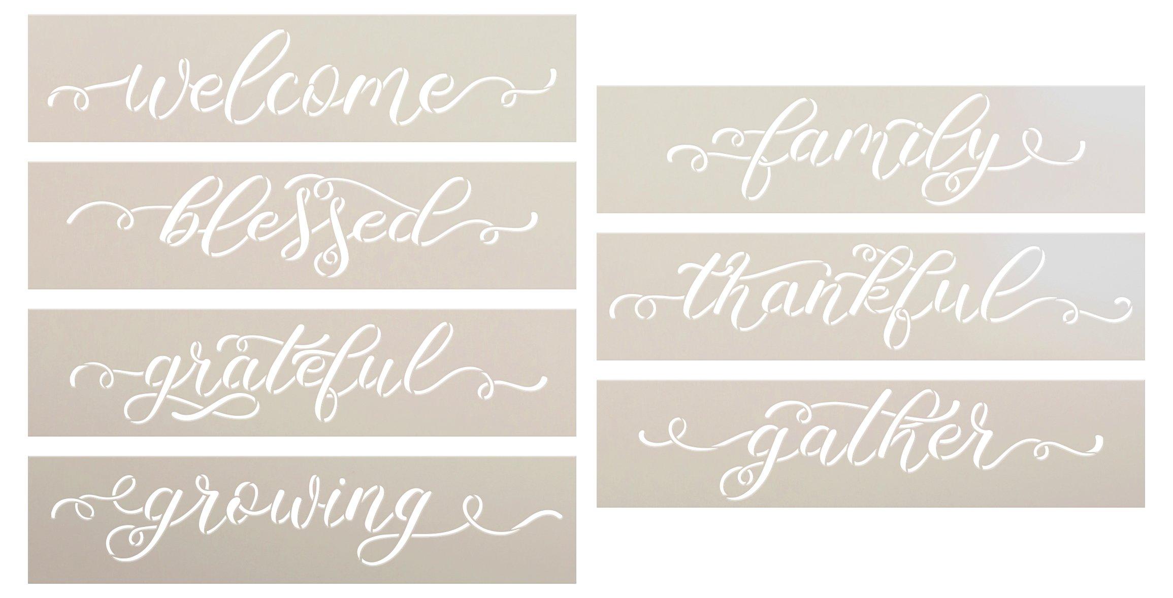 Farmhouse Cursive Script Word Stencil Set by StudioR12 | DIY Family Home Decor Gift | Craft & Paint Wood Sign | Reusable Mylar Template | Select Size