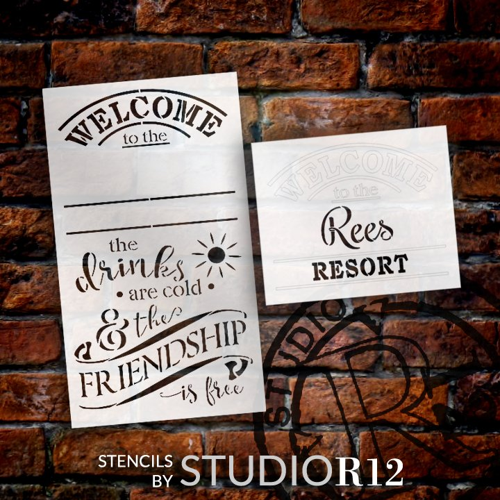 Welcome to the Resort Personalized Stencil by StudioR12 | DIY Friend Home Decor | Craft & Paint Wood Signs Reusable Mylar Template | (12 x 21 INCHES)