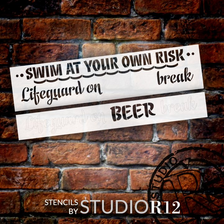 Swim at Own Risk Lifeguard on Break Personalized Stencil by StudioR12 | DIY Home Decor Craft & Paint Wood Sign | Reusable Mylar Template 30 x 7 INCHES