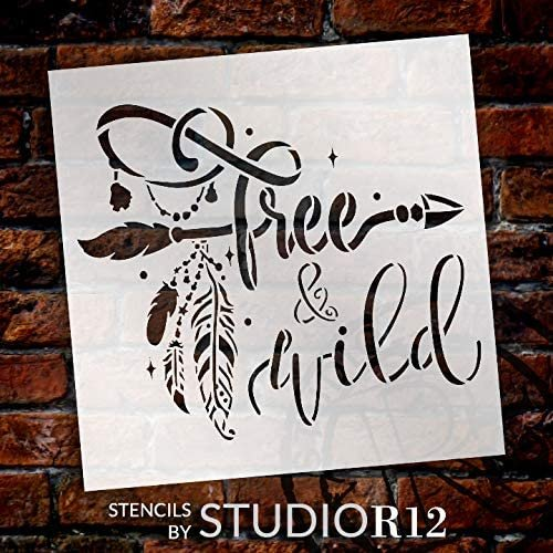 Wild & Free Stencil by StudioR12 | DIY Boho Bohemian Feather Arrow Home Decor Gift | Craft & Paint Wood Sign | Reusable Mylar Template | Select Size