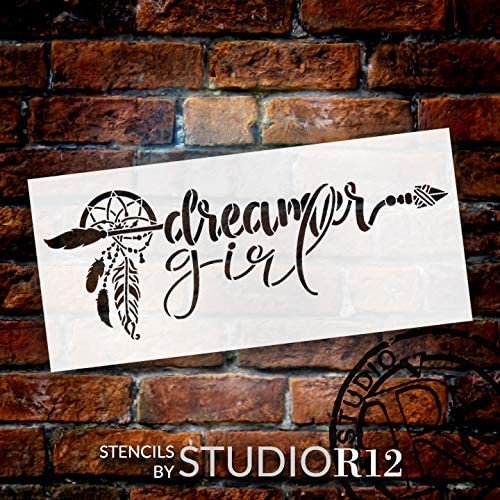 Dreamer Girl Stencil by StudioR12   DIY Boho Bohemian Feather Arrow Home Decor Gift   Craft & Paint Wood Sign   Reusable Mylar Template   Select Size