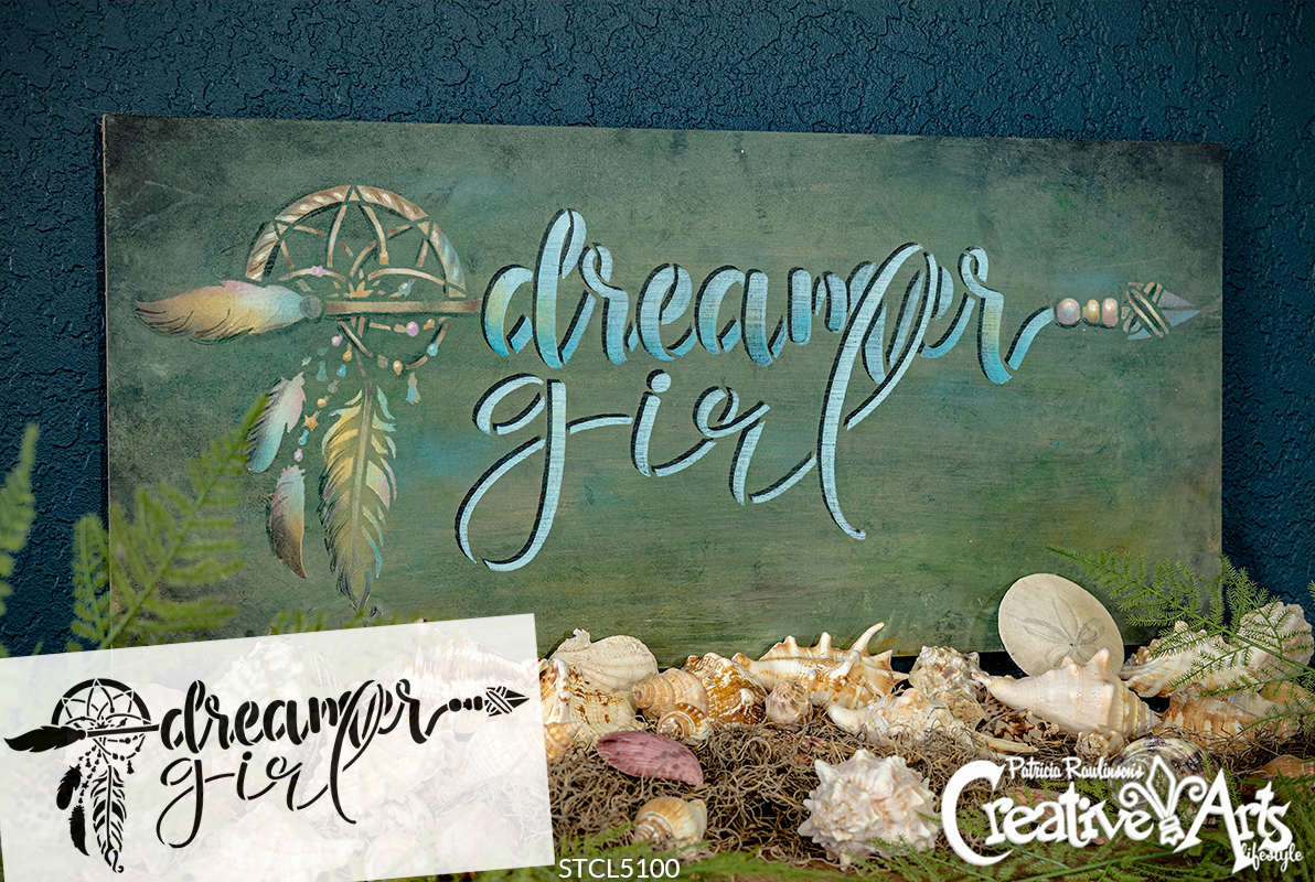 Dreamer Girl Stencil By Studior12 Diy Boho Bohemian Feather Arrow Home Decor Gift Craft Paint Wood Sign Reusable Mylar Template Select Size Creative Arts Lifestyle