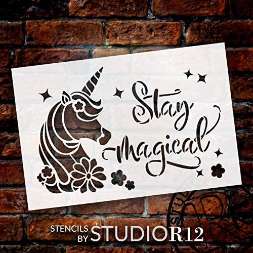 Stay Magical Stencil with Unicorn & Stars by StudioR12   DIY Children's Bedroom & Nursery Home Decor   Paint Wood Signs   Select Size (12 x 8 inch)