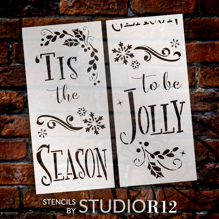 Tis The Season - Be Jolly 2-Part Stencil by StudioR12   DIY Christmas Home Decor Gift   Craft & Paint Wood Sign   Reusable Mylar Template   1 x 4 FEET