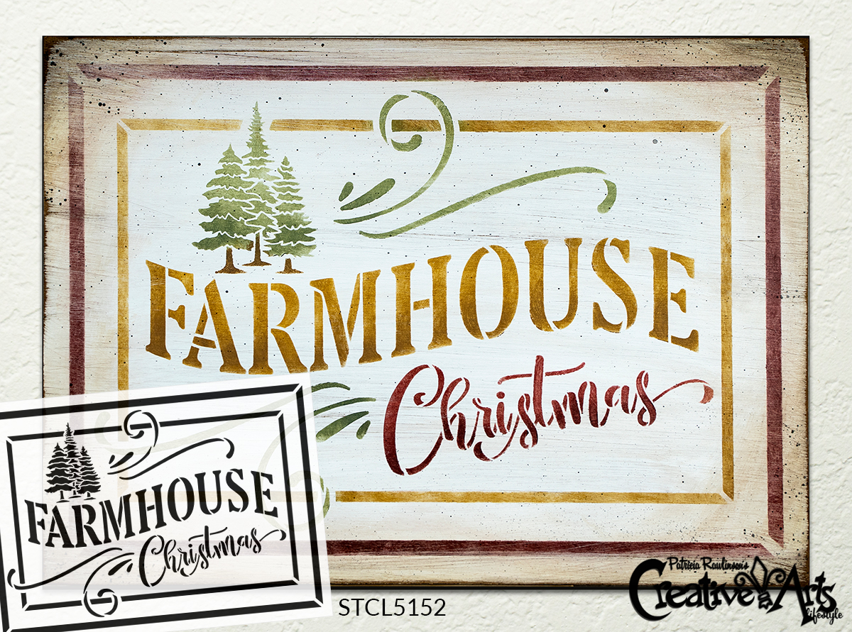 Farmhouse Christmas Stencil by StudioR12 | DIY Rustic Winter Holiday Tree Home Decor | Craft & Paint Wood Sign | Reusable Mylar Template | Select Size