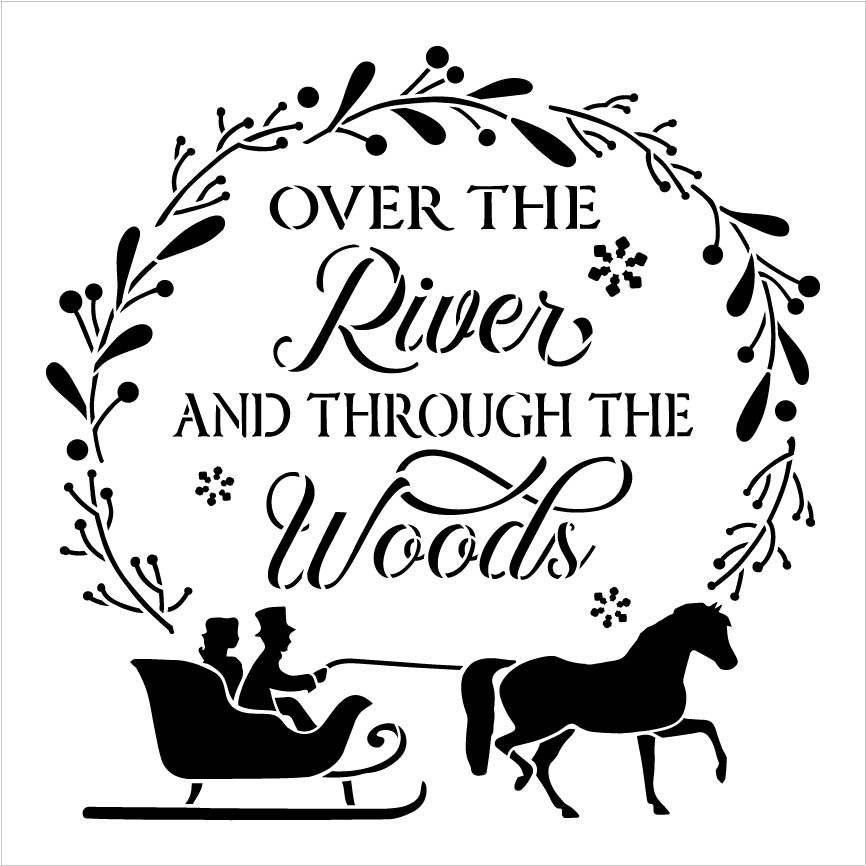 Over River Through Woods Stencil by StudioR12 | DIY Christmas Sleigh Home Decor Gift | Craft & Paint Wood Sign | Reusable Mylar Template | Select Size